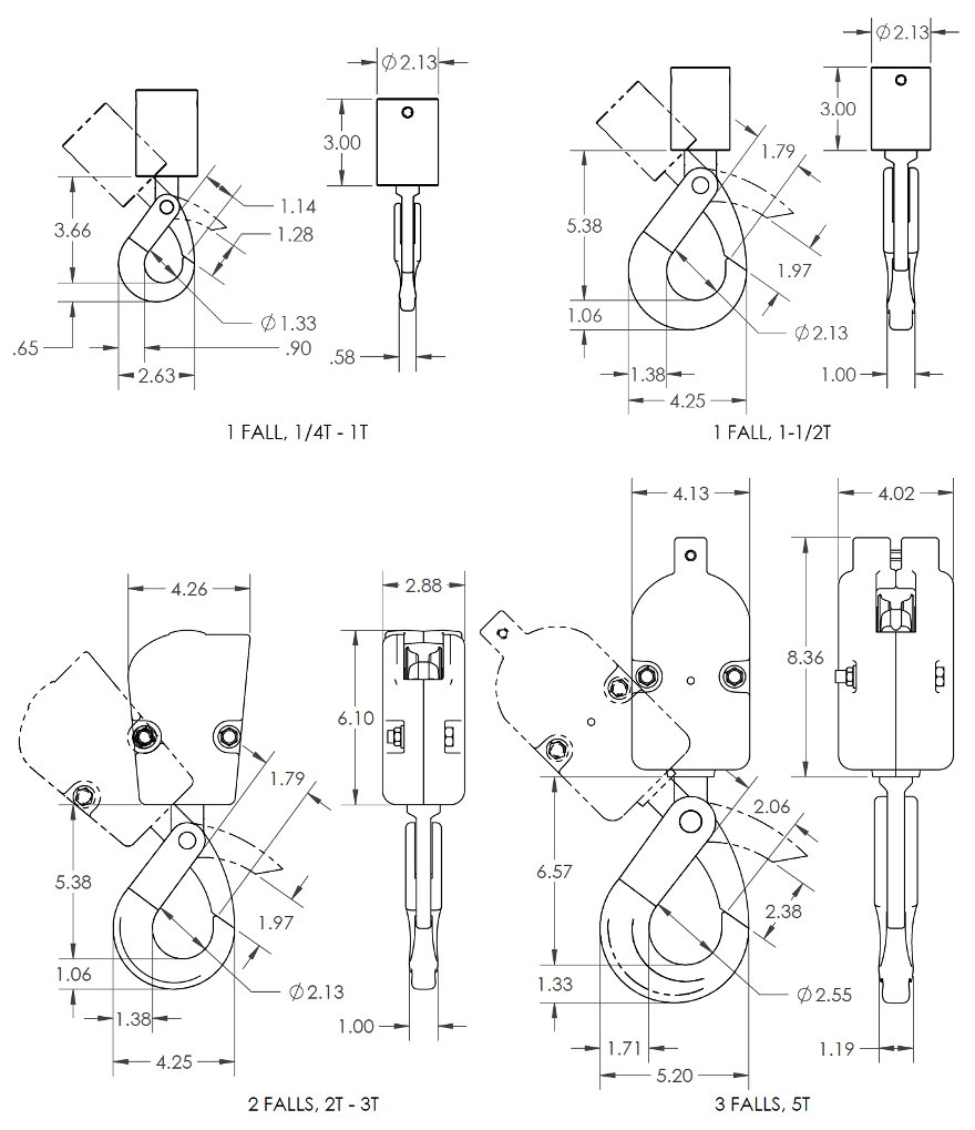 Self-locking hook assembly dimensions