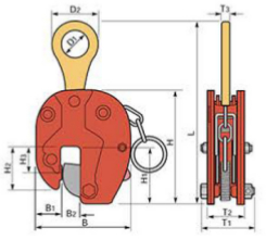 Vertical lifting clamp (SVC-H) dimensions